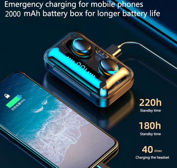 TWS Bluetooth 5.0 Earphones 2200mAh Charging Box Wireless Headphone 9D Stereo Sports Waterproof Earbuds Headsets With Microphone