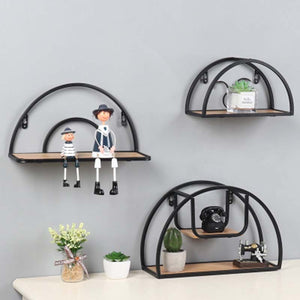 Nordic Iron Wood Semicircle Wall Decorative Shelf