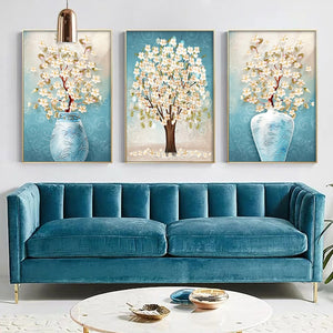 Nordic Abstract Blue Flower Canvas Painting Wall Art