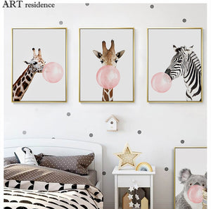 Pink Bubble Giraffe Decorative Wall Painting