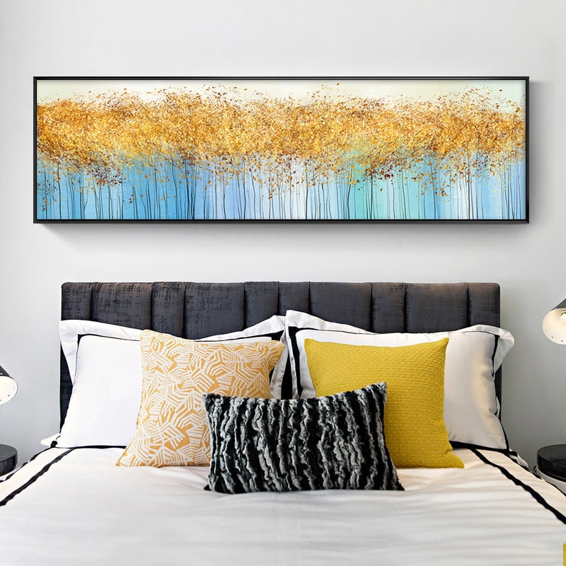 Abstract Golden Tree Painting Wall Art