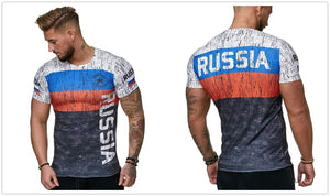 Russian Flag Men's Casual T Shirt