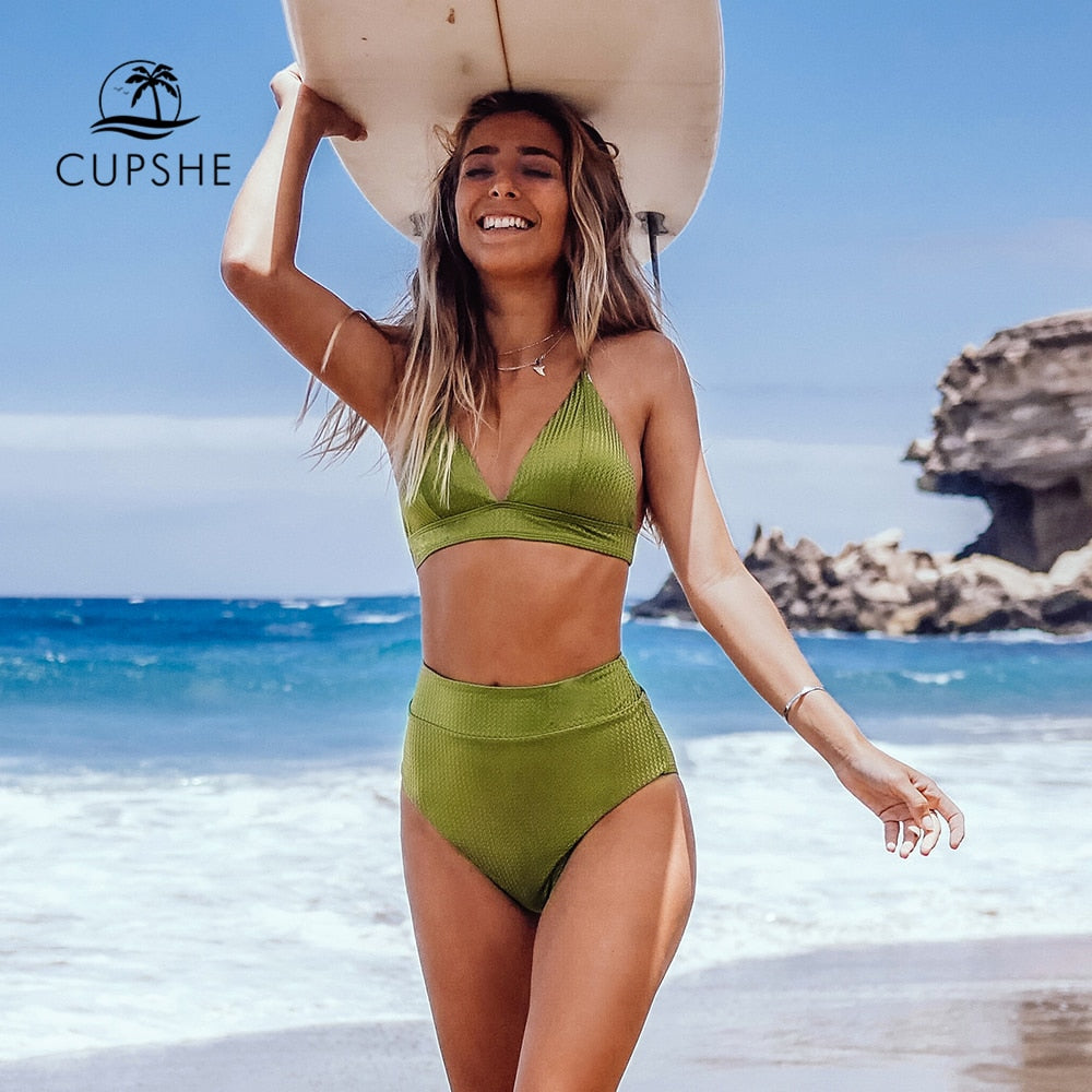 Lime Green Textured Triangle Bikini