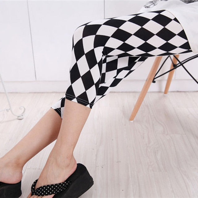 Grid Striped Printing Square Plaid Fitness Legging