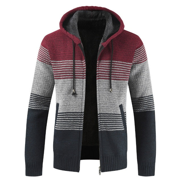 Thick Warm Hooded Striped Coats