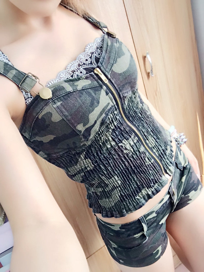 Adjustable Zipper Bustier Vest Tank