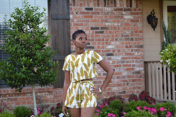 Fancy Feather Romper (Mustard Yellow)