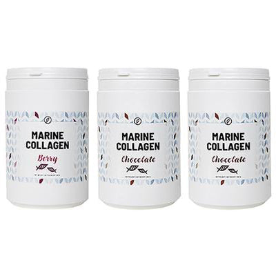 3-pak: Chocolate + Chocolate + Berry Marine Collagen