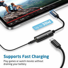 Load image into Gallery viewer, ESR 2-IN-1 USB-C HEADPHONE JACK ADAPTER STRAIGHT BLACK (RP)