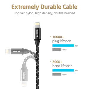 ESR BRAIDED MFI LIGHTNING CABLE-1M-CABLE-BLACK 4894240058299 (RP)