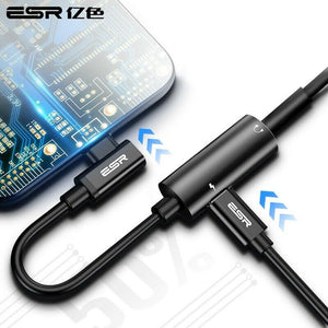 ESR 2-IN-1 USB-C HEADPHONE JACK ADAPTER ELBOW BLACK (RP)