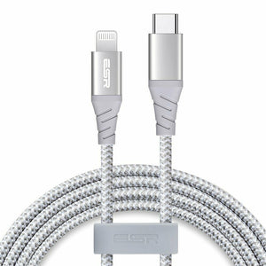 ESR USB-C TO LIGHTNING PD CABLE 1M BRAIDED SILVER 4894240075029 (RP)