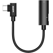 Load image into Gallery viewer, ESR 2-IN-1 USB-C HEADPHONE JACK ADAPTER ELBOW BLACK (RP)