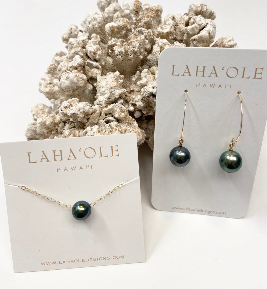 Tahitian Pearl Hook Earrings+Tahitian Pearl Floater Necklace #2