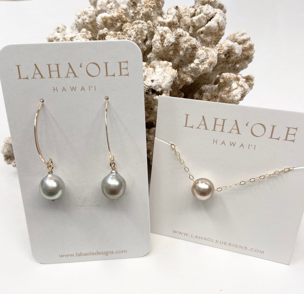 Tahitian Pearl Hook Earrings+Tahitian Pearl Floater Necklace #3