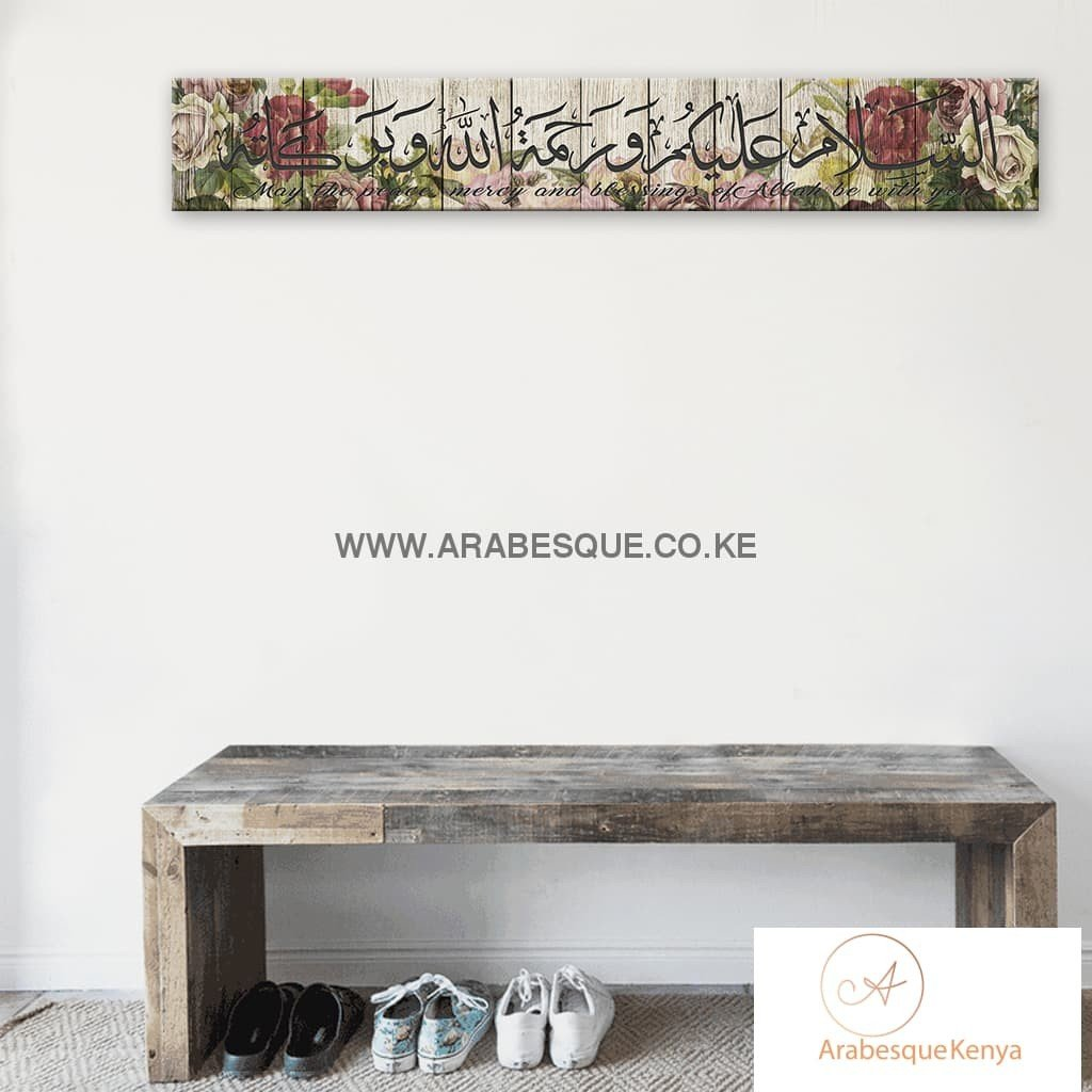 Assalamualaikum Rustic Rose Stretched Canvas Frame - Arabesque
