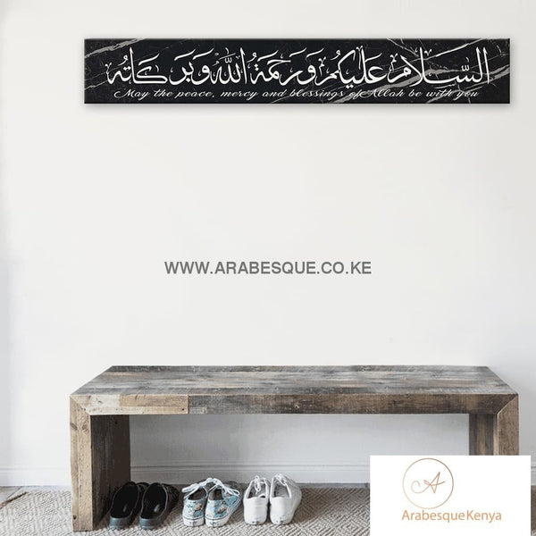 Assalamualaikum Gold Blue Motif Stretched Canvas Frame - Arabesque