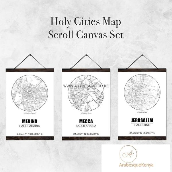 Holy Cities Map Circle Set With Street Names Scroll Canvas