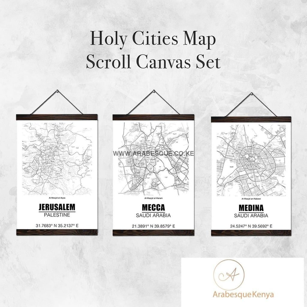 Holy Cities Map Square Set With Street Names Scroll Canvas