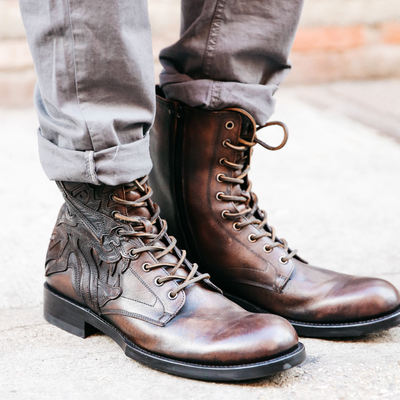 Men's Wolf Tattoo Boots