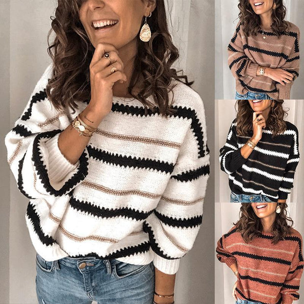 Fashion Loose Striped Crew Neck Sweater