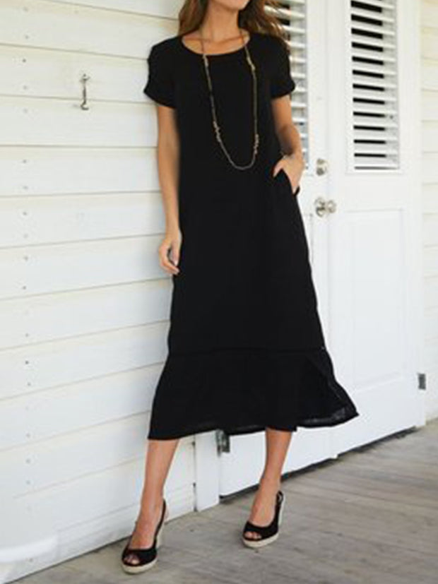 Casual Solid Short Sleeve Casualdress