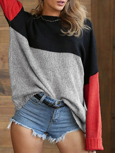 Color-Block Casual Long Sleeve Crew Neck Sweater