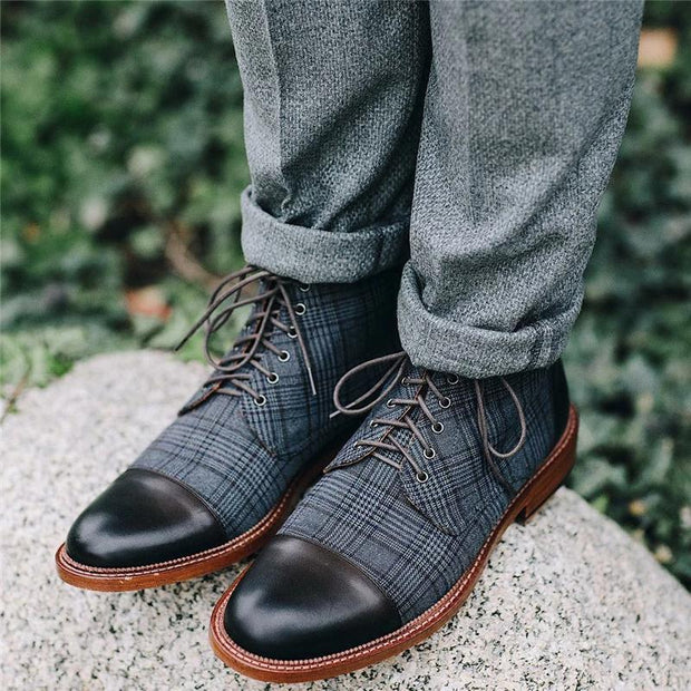Vintage Genuine Leather Plaid Lace Up Boots