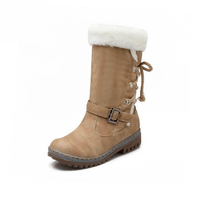 Women Leather Warm mid-calf Plush Fur Velvet Boots Booties Snow Shoes