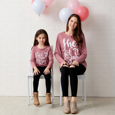 Mommy and Me Round collar Heart-shaped Red long sleeve Matching Tops