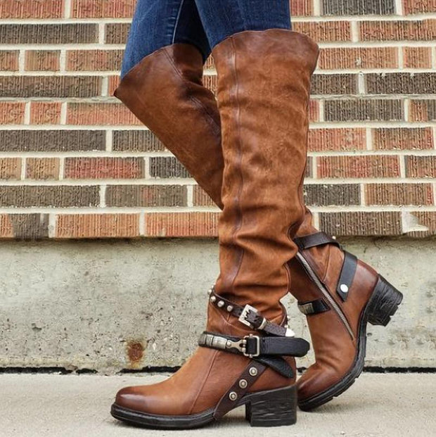 Women Plus Size Riding Low Heel Boots