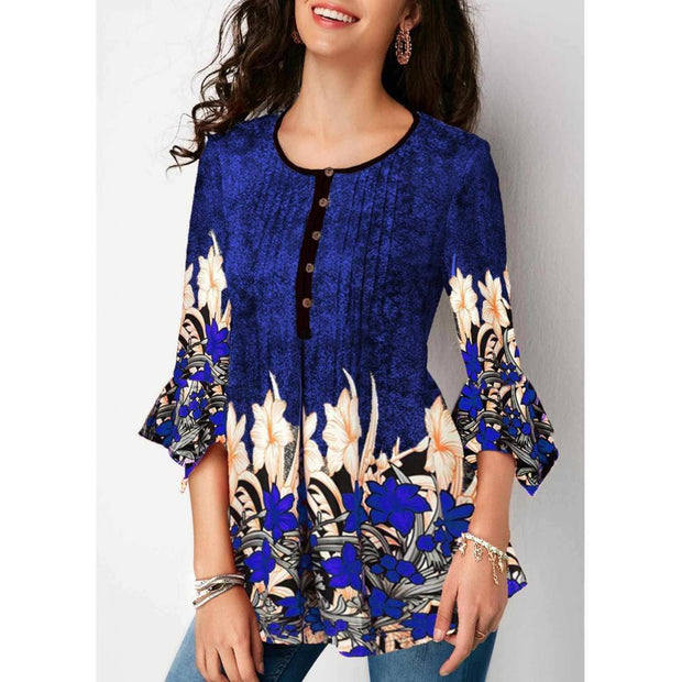 Women Plus Size Three Quarter Sleeve Floral Print Causal Loose Tunic Blouse Shirts
