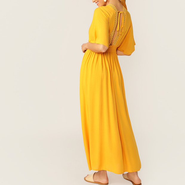 Plunging Neck Knot Back Dress Women Summer Dresses
