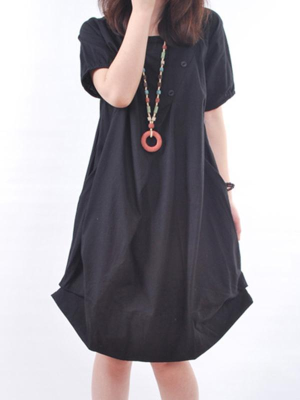 Crew Neck Short Sleeve Cocoon Casual Skirts