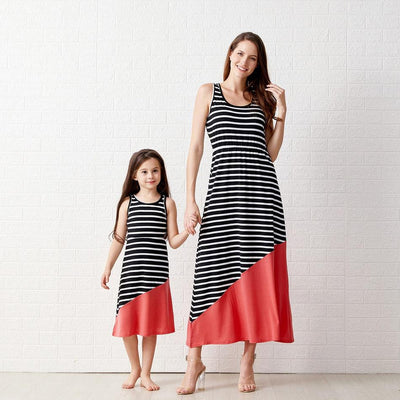 Mommy and Me Stripes casual A Matching Dresses
