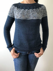 Navy Blue Plain Long Sleeve Crew Neck Sweater