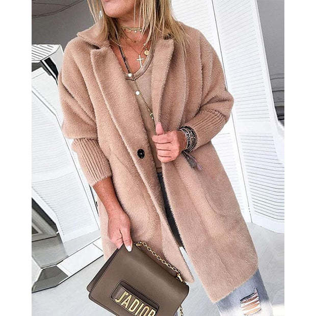 Turndown Collar Solid Warm Coats