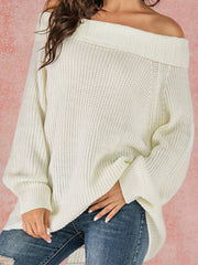 White Cold Shoulder Long Sleeve Sweater