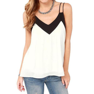 Corachic.com - 5XL Sexy Women Plus Size Chiffon Top Strap Contrast V-Neck Sleeveless Vest Top - Blouse & Tops