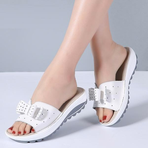 Summer Women Butterfly Knot PU Leather Cut Out Flat Heels Slippers Sandals
