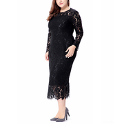 Women plus size lace dress 6XL large size bodycon Sexy midi dress