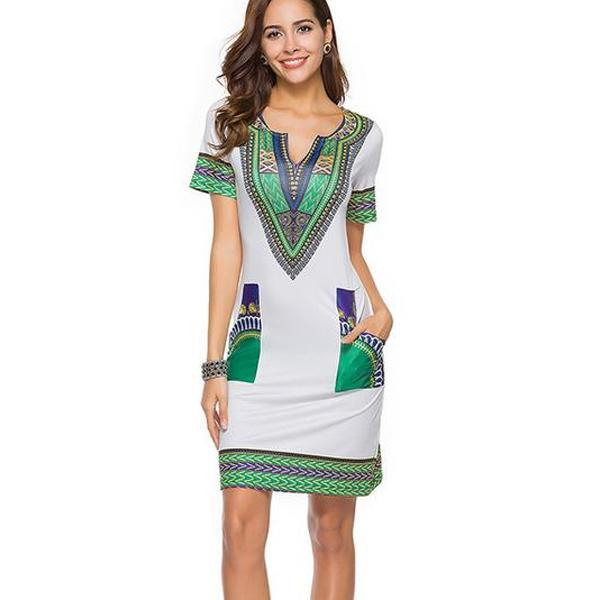 Sexy V Neck Pocket Patchwork Tunic Dress Robe African Print Dashiki Dresses