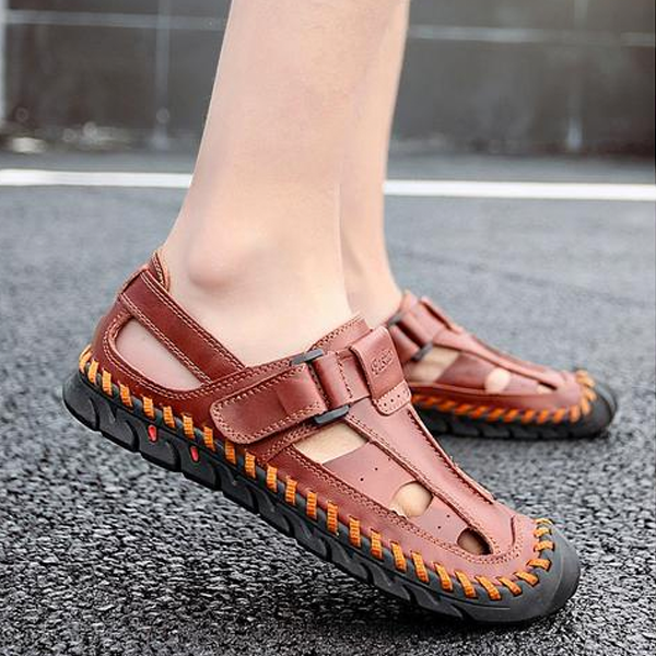 Men's Genuine Leather Sandals Casual Breathable Beach Sandal Shoes