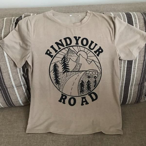 Women Short Sleeve Find Your Road Print O-Neck T-Shirt Casual Fashion Light Khaki Tops Tee