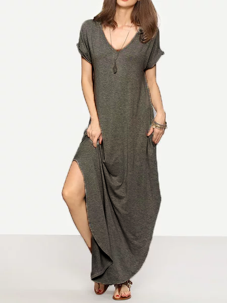 Solid Short Sleeve Shift Deep V-Neck Casualdress