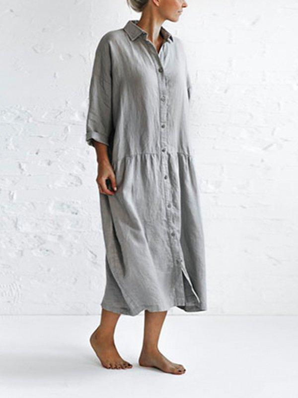 3/4 Sleeve Cotton-Blend Solid Casualdress