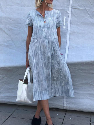 Plus Size Casual Short Sleeve Midi Dresses