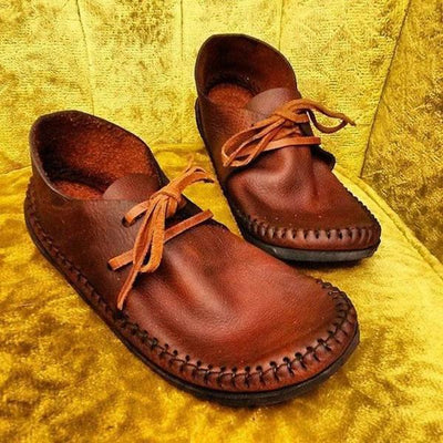 Solid Color Vintage Handmade Flat Loafers