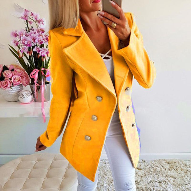 Women Slim Fashion Solid Color Jacket