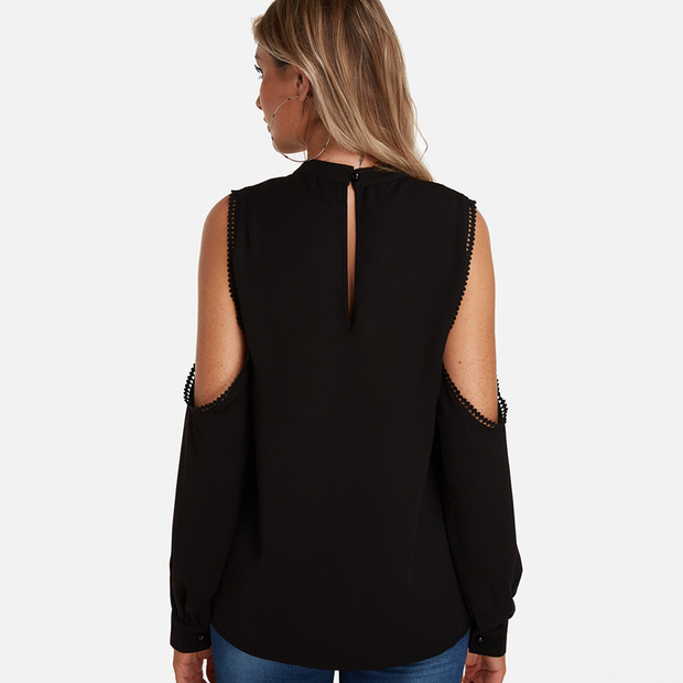 Casual Loose Sexy V-Neck Off Shoulder Long Sleeves Cut Out Blouse Shirts with Chock